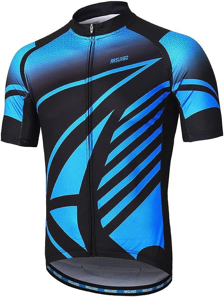ARSUXEO Men's Cycling Jersey Short Sleeves Mountain Bike Shirt MTB Top Zipper Pockets Reflective
