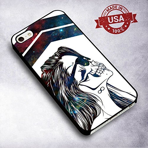 Precious Hipster Girl Skull Galaxy pour Coque Iphone 6 or 6s Case D2C8WH