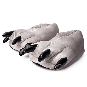 Kigurumi Zapatillas de Felpa con Garras, Pantuflas de estar por Casa Pata de Animal - Cosplay - Talla Unica UE 37-45 para Adultos Unisexo - Naranja-Beige