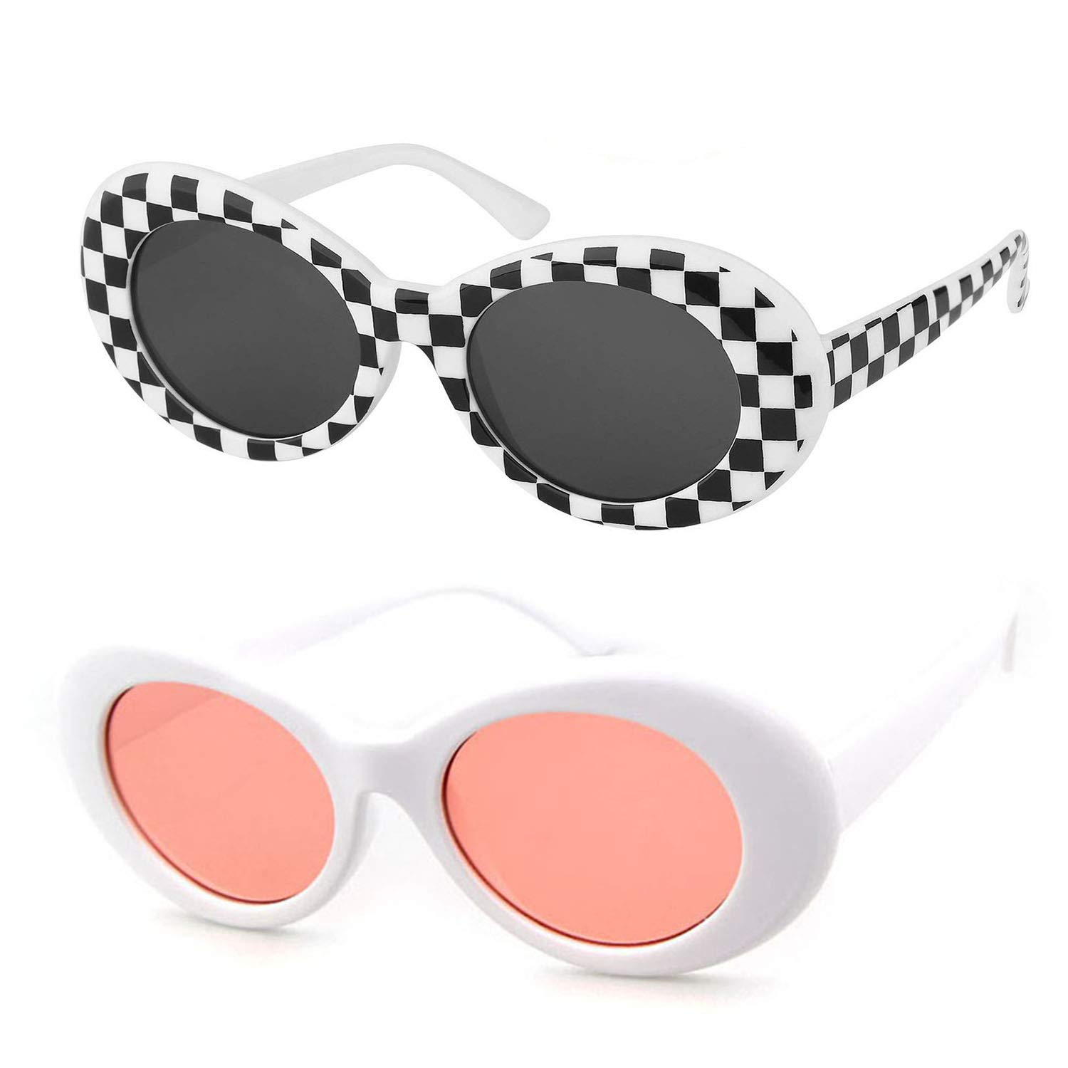 7e3802d6b66 QIFANDI UV400 Clout Goggles Bold Retro Oval Mod Thick Frame Sunglasses  (Checkered+Pink(2Pack))