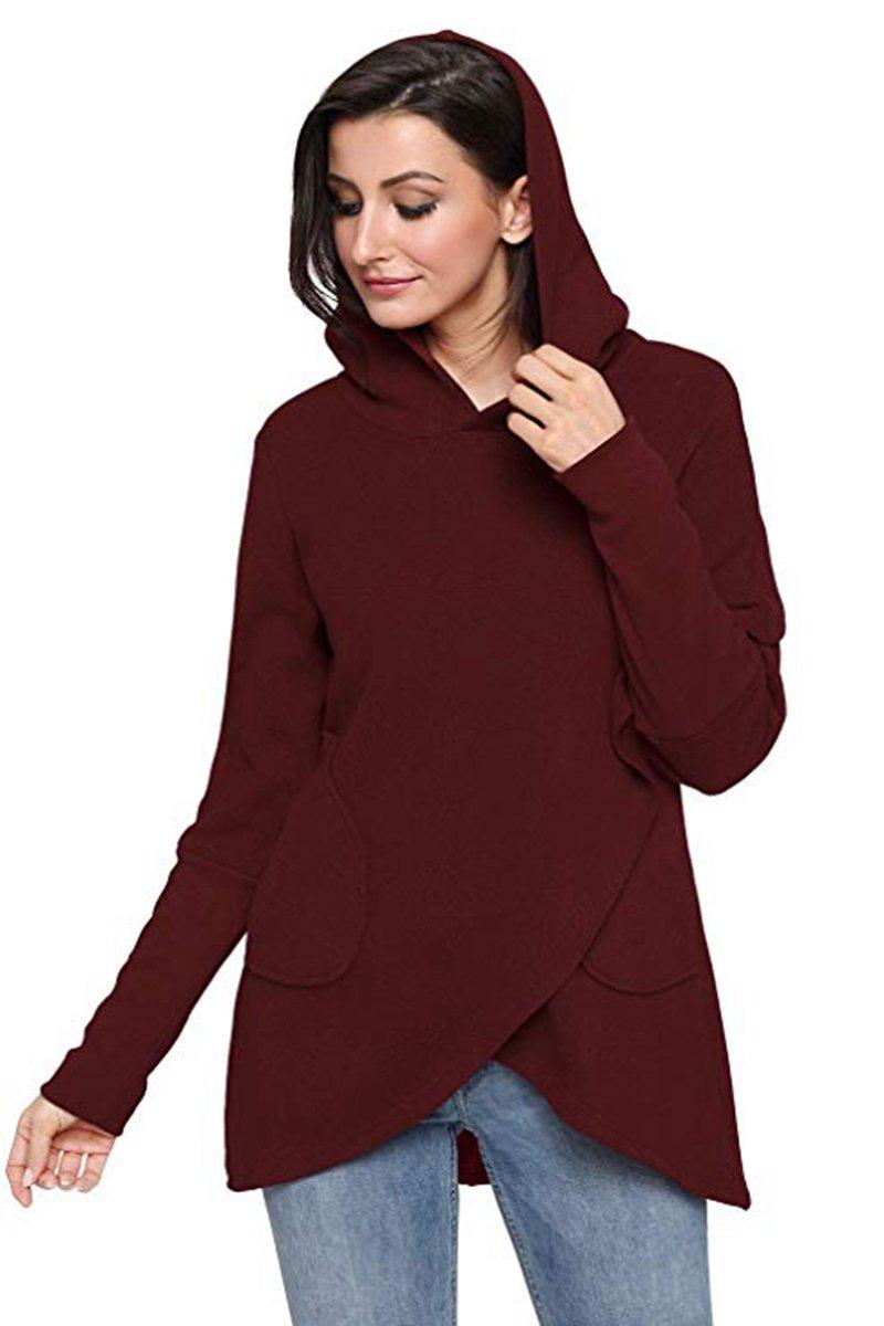 M.Brock Women's Wrap Asymmetric Hem Hoodie Long Sleeve Pullover Sweatshirts Outwear Tops Lightweight