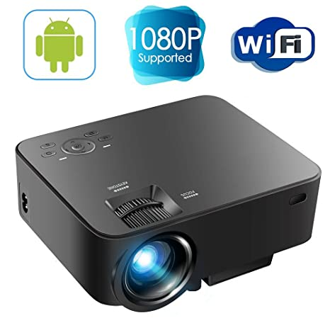 bd30a8f3341a63 Android Mini Projector - Portable LED Projector Support Full HD 1080P, Wifi  Home Cinema Theater