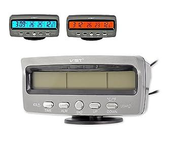 DSstyles Medidor de temperatura del coche 3 en 1 Termómetro de coche digital Reloj de coche