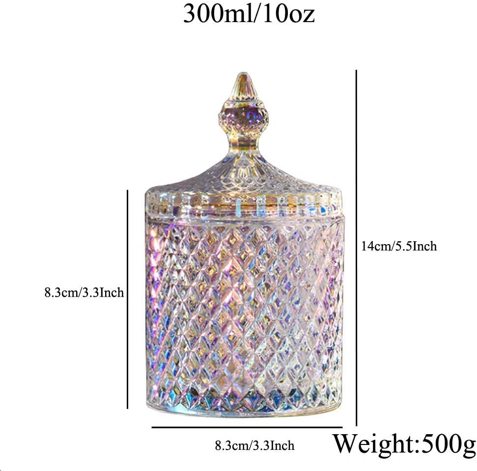 10 OZ Crystal Glass Candy Dish with Lid Cylindrical Diamond Candy Box Sugar Bowl Cookie Jar Biscuit Barrel Home Decorative Candy Buffet Storage Container Pot Holder 8.3x8.3x14cm Colorful
