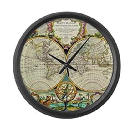 Amazon cafepress vintage world map large 17 round wall cafepress vintage world map large 17quot round wall clock unique decorative clock gumiabroncs Gallery
