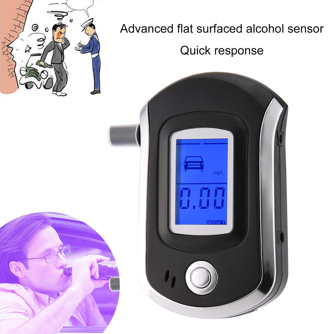 color: black Digital Breath Alcohol Tester LCD Breathalyzer Analyzer With 5 Mouthpiece High Sensitivity Professional Quick Response AT6000 /&