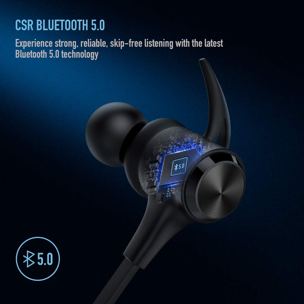 Boltune Wireless Headphones, Bluetooth 5.0 IPX7 Waterproof 16 Hours Playtime Bluetooth Headphones, with Magnetic Connection, Sports Earphones for Running Built-in Mic by Boltune (Image #5)