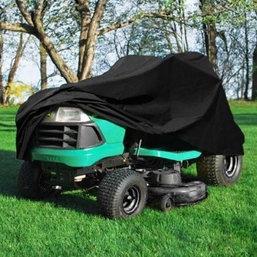 Premium Waterproof Universal Riding Lawn Mower Cover 55 Inch Garden Yard Tractor Storage Cover Black [US Stock] (54Inch)