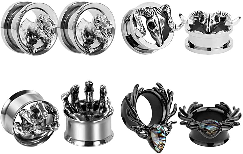 """TBOSEN 4 Pairs Mixed Style Stainless Steel Tunnel Ear Plugs Stretching Expander Gauges Piercing Large Ear Gauges Kit 2g - 5/8"""" inch"""