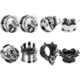 1 inch SUPTOP 2pcs Superb Ram Skull Ear Gauges Titanium Alloy Screw Plugs and Tunnels for Ears 2G