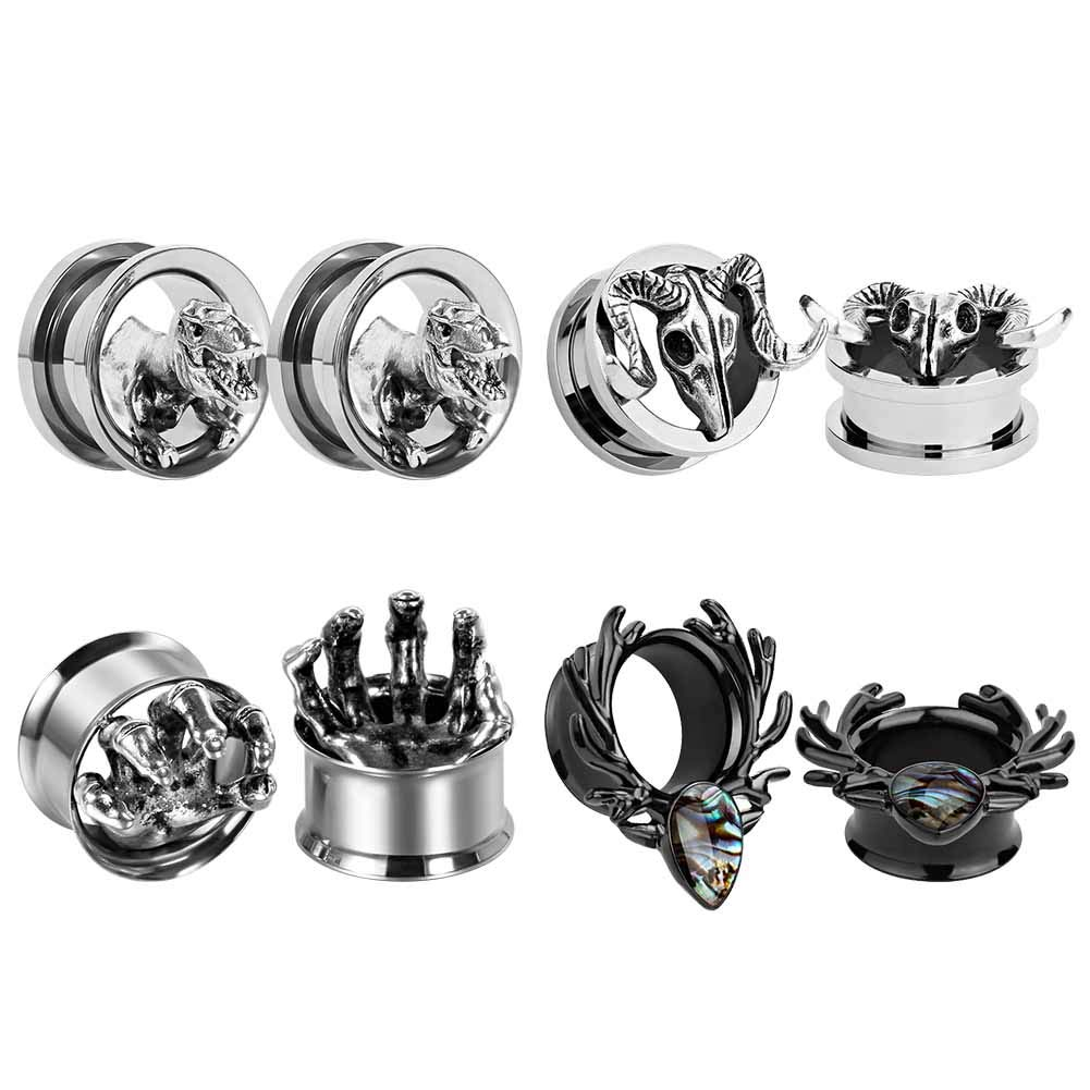 TBOSEN 4 Pairs Mixed Style Stainless Steel Tunnel Ear Plugs Stretching Expander Gauges Piercing Large Ear Gauges Kit 2g - 5/8'' inch by TBOSEN