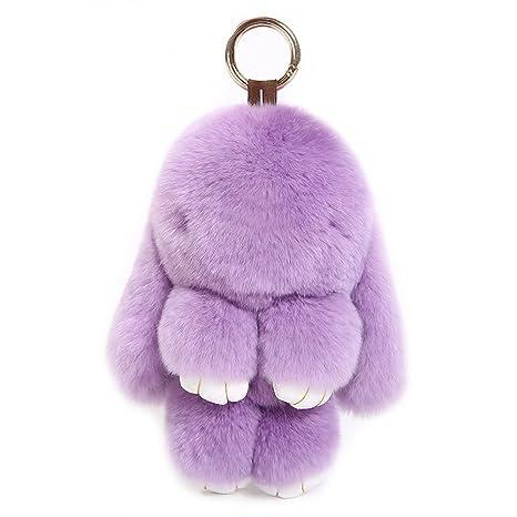 owikar conejo piel de conejo llavero bolso clave cadena ...