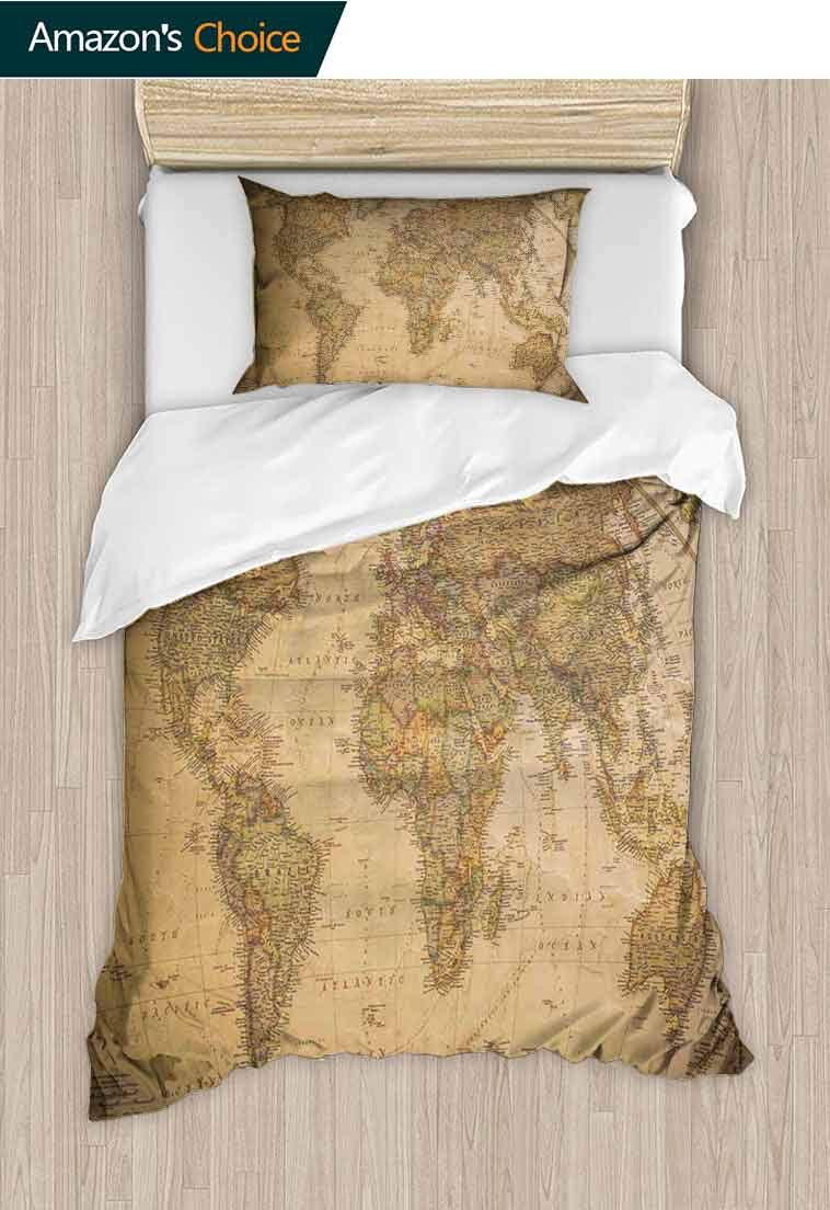 World Map Custom Made Quilt Cover and Pillowcase Set, Anthique Old World Map in Retro Colors Vintage Nostalgic Design Art Print, Reversible Coverlet, Bedspread, Gifts for Girls Women Cream Pale Coffee