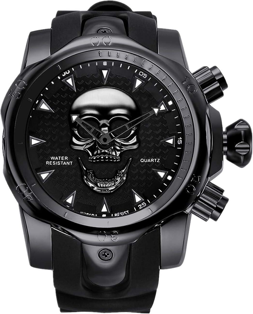 Reloj de pulsera para hombre con esfera de calavera en 3D, color negro, con correa de silicona