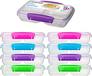 Sistema (9 Pack) Small Split To Go 2 Compartment Snack Containers BPA Free Food Storage Containers With Divider