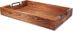 Rustic Large Tray with Handles 20-Inch, Wooden Serving Trays, Distressed Torched Wood Tray, Farmhouse Wood Butler Platters for Serve Breakfast, Appetizer, Coffee, Bar, Food, Party