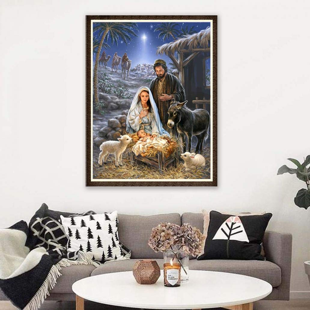 EIKdoulf02 30x40cm DIY 5D Diamond Painting Set Nativity Jesus Cross Stitch Craft Mosaic Full Round Embroidery Pictures Diamond Painting for Home Wall Decoration Gift W305