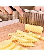 Ndier Cuchillo Corrugado Vegetal, Cuchillo Corrugado de Acero Inoxidable para Cortar Patatas, Cuchillo de Cocina de Acero Inoxidable
