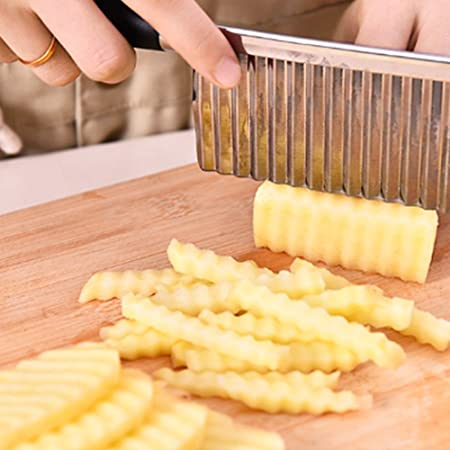 Oferta amazon: Ndier Cuchillo Corrugado Vegetal, Cuchillo Corrugado de Acero Inoxidable para Cortar Patatas, Cuchillo de Cocina de Acero Inoxidable