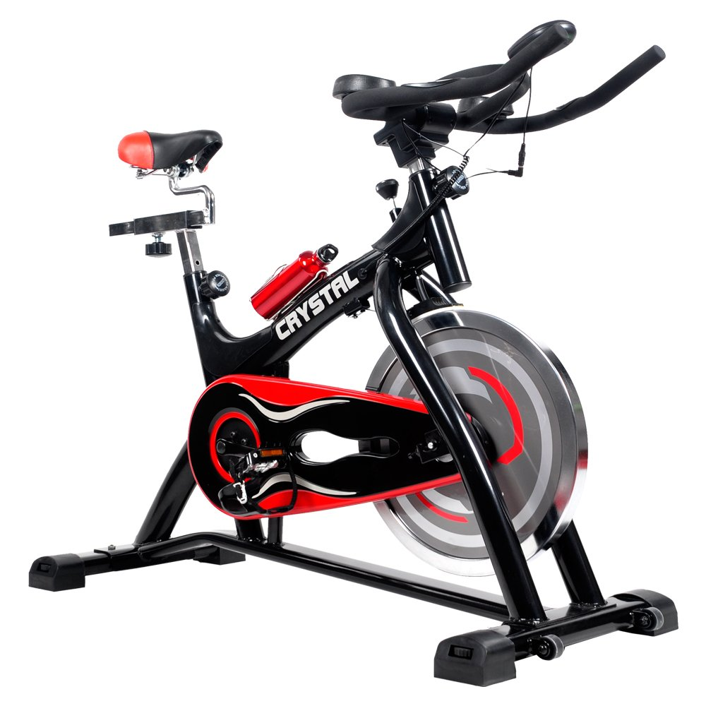Indoor Cycling Bikes with LCD Monitor and Free Bottle Trainer Bicycle Stationary Fitness Equipment with 30lbs flywheel Exercise Bike by CRYSTAL FIT