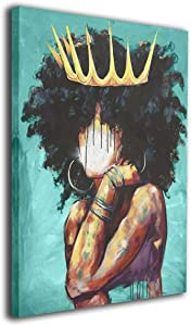 African American Wall Art Teal Yellow Abstract Black Girl With Crown Paintings For Living Room Bedroom Bathroom Decor,Stretched And Framed Ready To Hang
