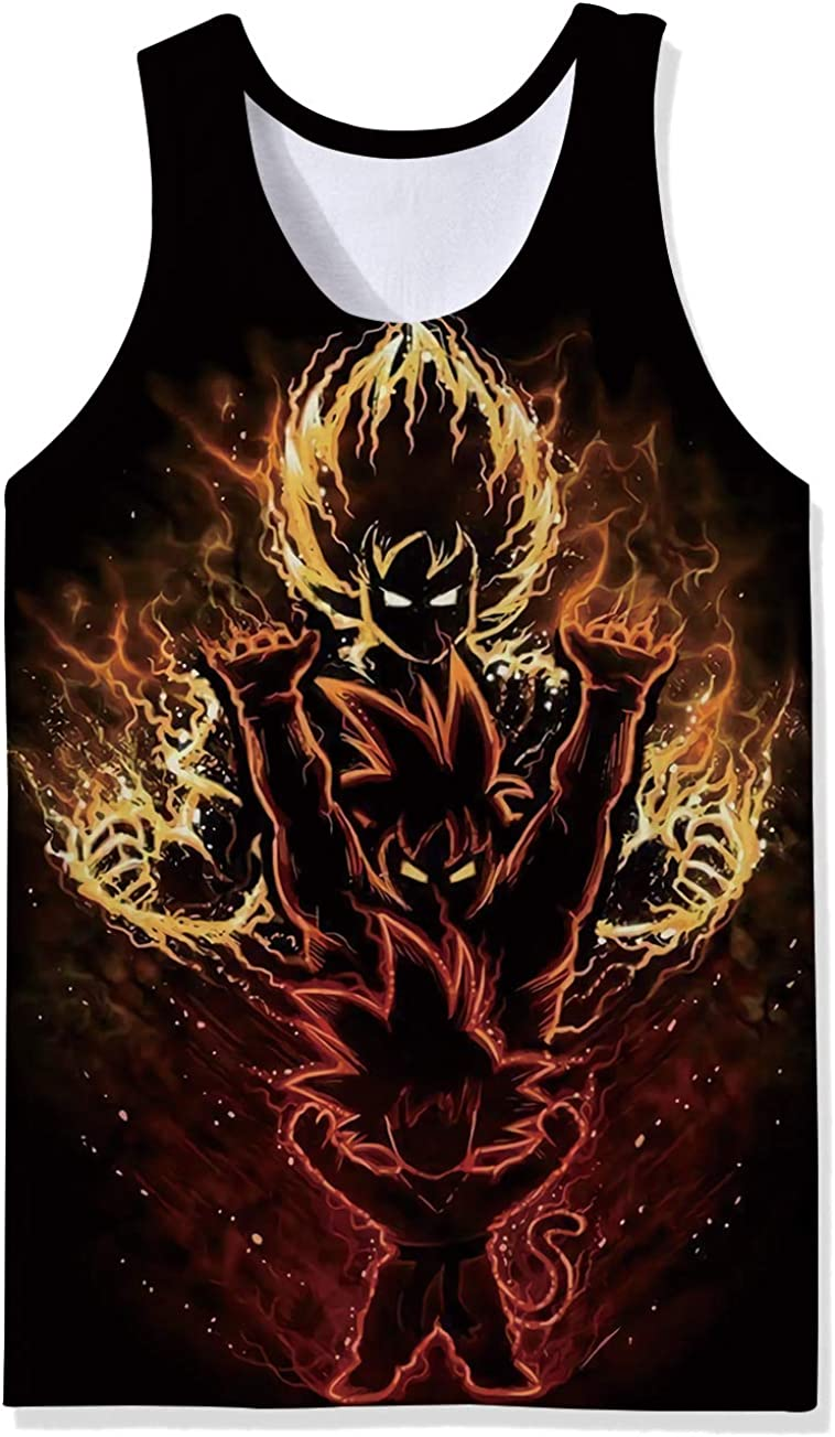 Lifocs Mens Cool Anime Graphic Tank Top Dragon Ball Work Out Shirt Tokyo Ghoul Sleeveless Muscle Tees
