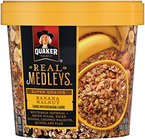 Quaker Real Medleys Super Grains Oatmeal+, Banana Walnut, Instant Oatmeal+ Breakfast Cereal (12 Cups) (Packaging May Vary)