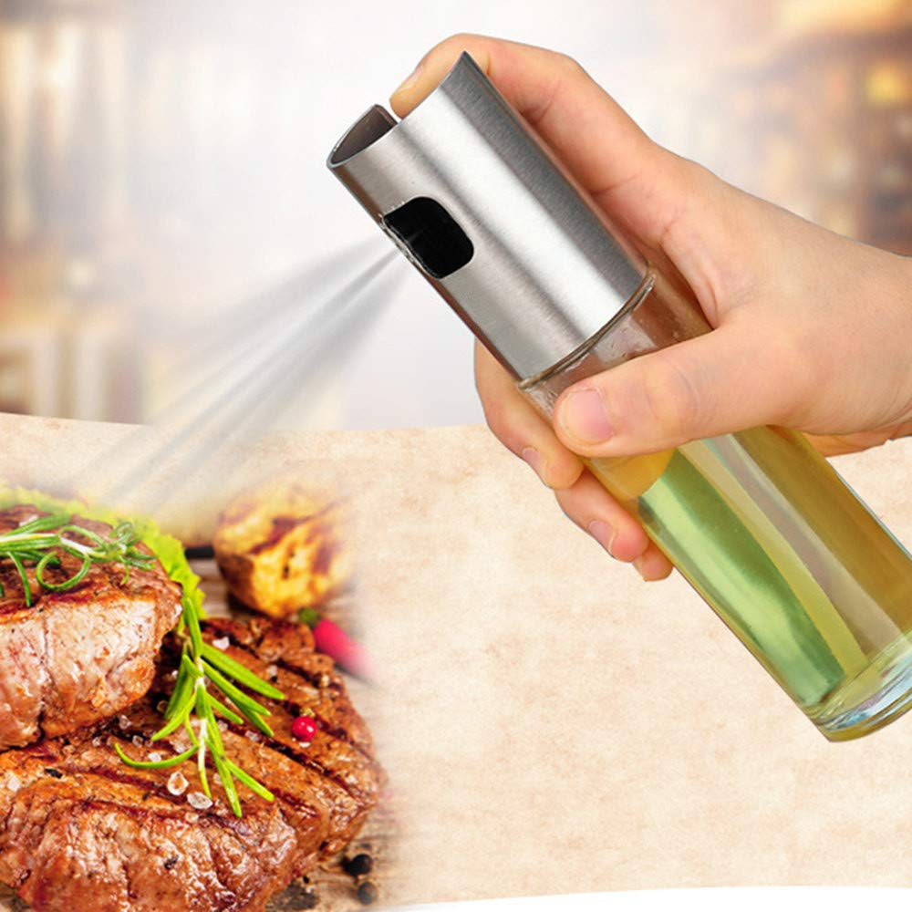 Passwolf Olive Oil Sprayer Dispenser for Cooking, Food-Grade Glass Oil Spray Transparent Vinegar Bottle Oil Dispenser 100ml for BBQ/Making Salad/Baking/Roasting/Grilling/Frying Kitchen.