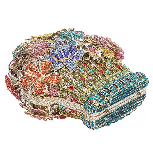 Handbags Shape For Silver Basket Multicolor And Bonjanvye Women Ab Clutch Flower Purses 0YnTxH