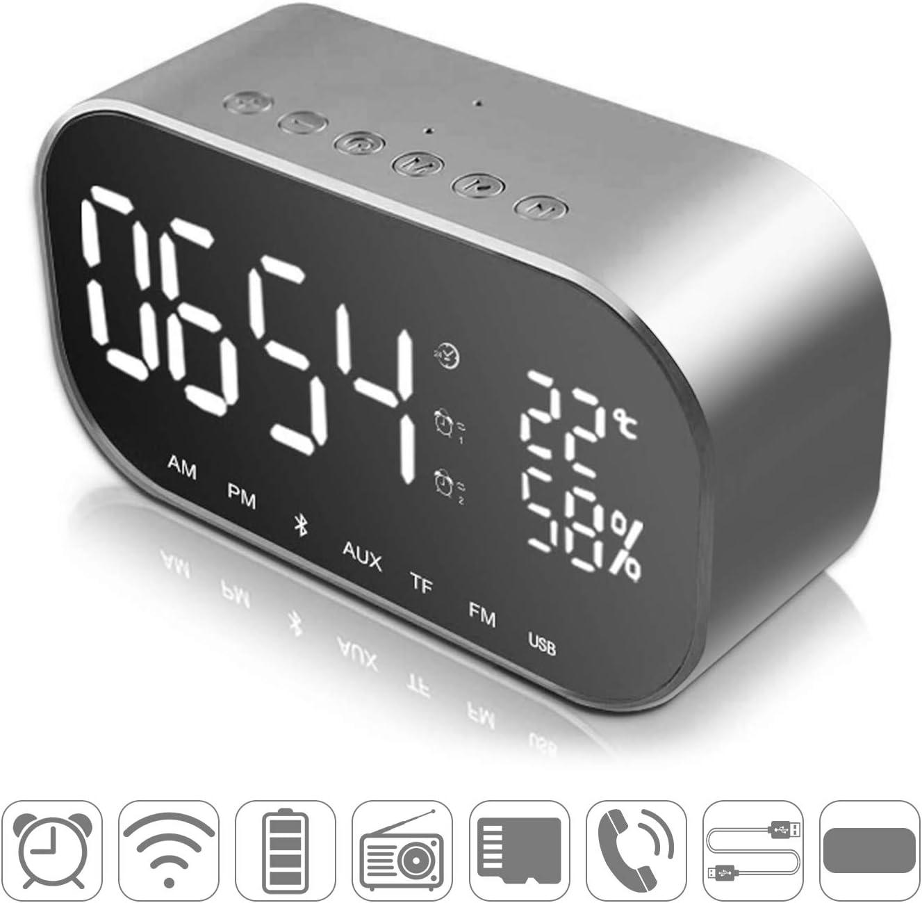 HowiseAcc - Reloj despertador digital LED con espejo de viaje portátil, altavoz Bluetooth, radio FM, mesita de noche, brillo ajustable, repetición, termómetro, 5,5 pulgadas