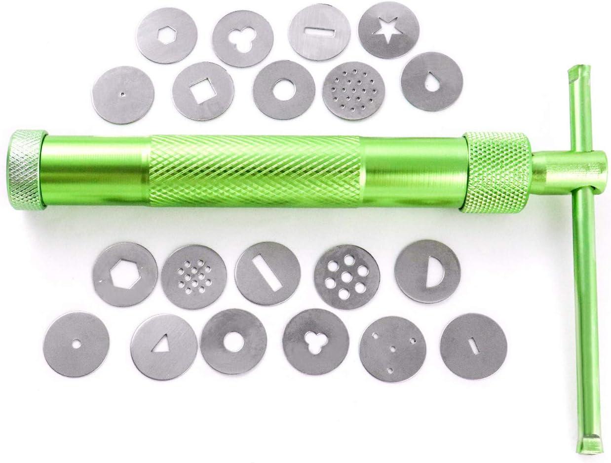 QWORK Extrusora Arcilla de Acero Inoxidable con 20 Moldes ,4 piezas de metal para modelar tartas y 8 piezas de pl/ástico para manualidades