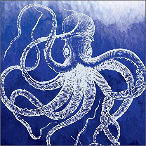 Napkin Octopus (Creative Converting Elise 16 Count 3 Ply Marine Octopus Luncheon Napkins, White/Blue)