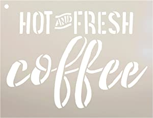 Hot and Fresh Coffee Stencil by StudioR12 | Reusable Mylar Template | Use to Paint Wood Signs - Pallets - Walls - DIY Cafe Decor - Select Size (9