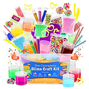 DilaBee Ultimate DIY Slime Making Kit for Girls and Boys - Package Includes 12 Ready Mixed Slime, Glitter, Glow Powder, Charms, Beads + Mixing & Sculpting Tools