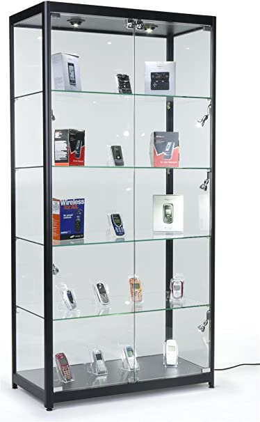 Amazon Com Tempered Glass Curio Cabinet With 8 Halogen Lights 78