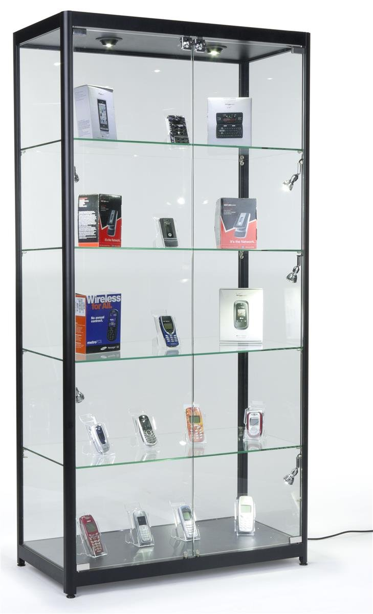 Displays2go Tempered Glass Curio Cabinet With 8 Halogen Lights, 78 x 40 x 16.5-Inch, Free-Standing, Locking Hinged Doors, Floor Levelers And 4 Green Edge Glass Shelves - Black, Aluminum