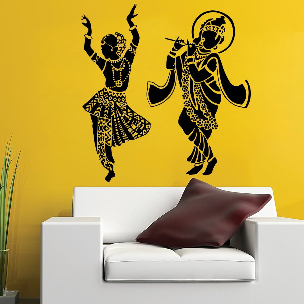 Amazon.com: WallMantra Radha Krishna Dancing Wall Decal Sticker ...