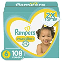 Diapers Size 6, 108 Count - Pampers Swaddlers Disposable Baby Diapers, ONE MONTH...