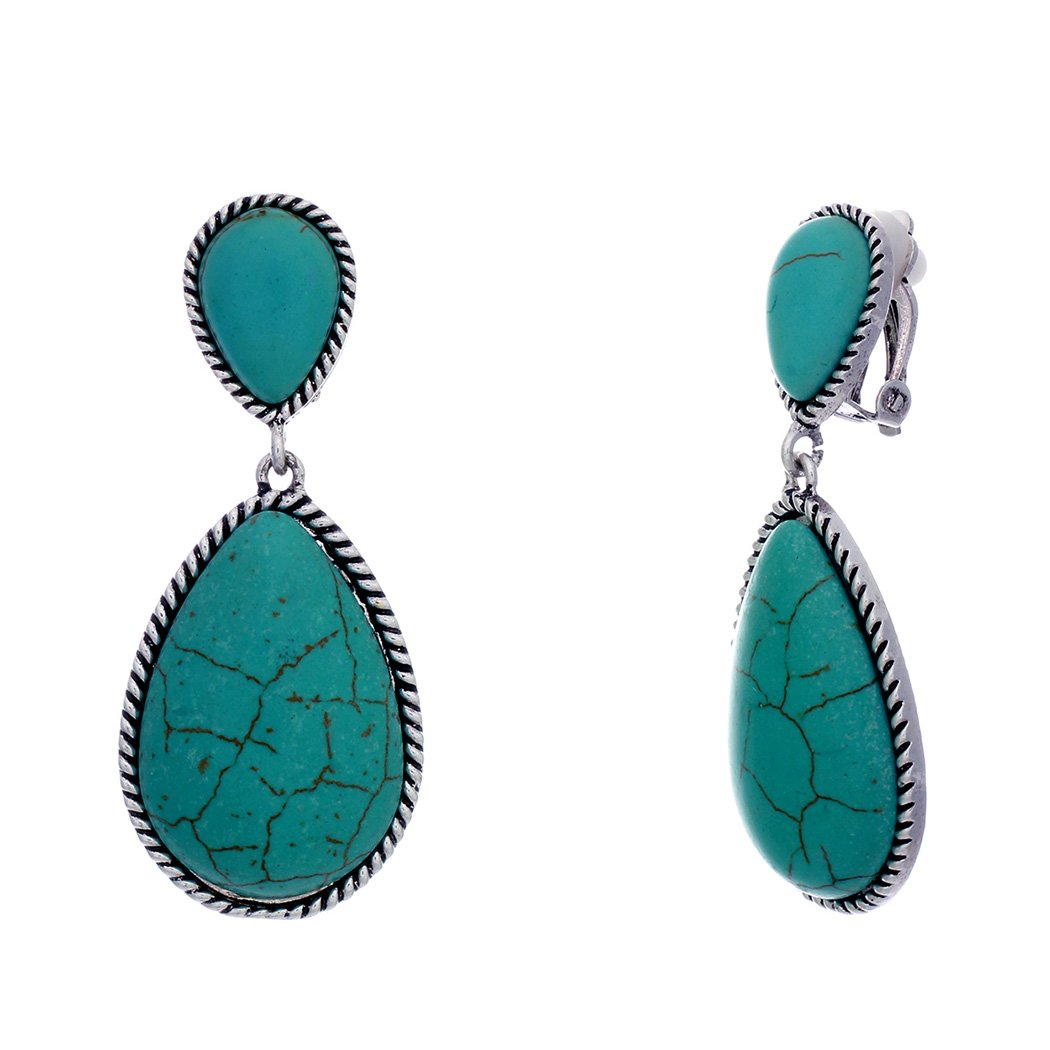 Rosemarie Collections Women's Southwestern Style Turquoise Teardrop Dangle Statement Clip On Earrings