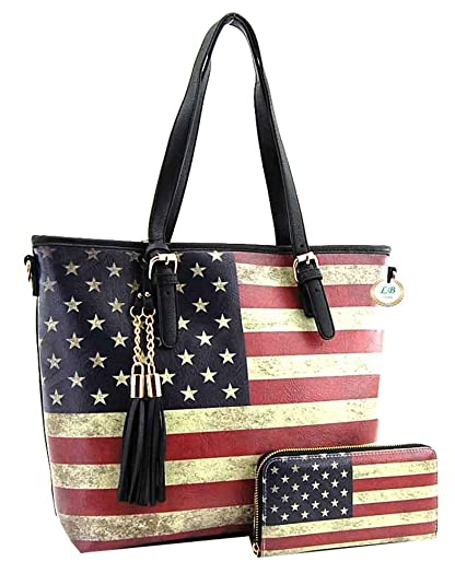 3bd42bb92fe9 American Flag Large Purse Wallet Set, Vintage US Flag Tote Style