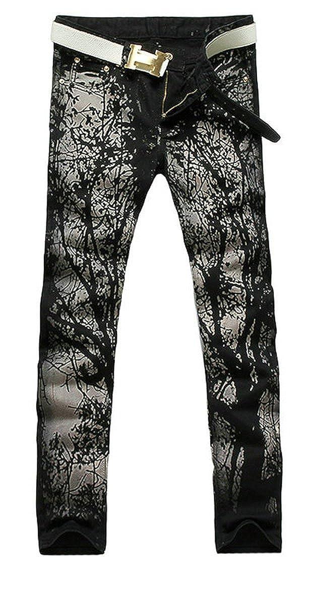 BiePa Fashion Mens Jeans Casual Slim Straight Jeans Denim Pants Trousers