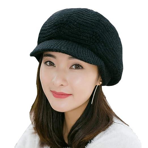 Flammi Women Knit Hat with Visor Fleece Lined Snow Ski Cap Warm Beret Cap  (Black 39829e0303f