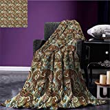 Paisley waterproof blanket Flower Blossoms in Arabian Style Ethnic Pattern Antique Swirled Authentic Design plush blanket Multicolor size:51''x31.5''