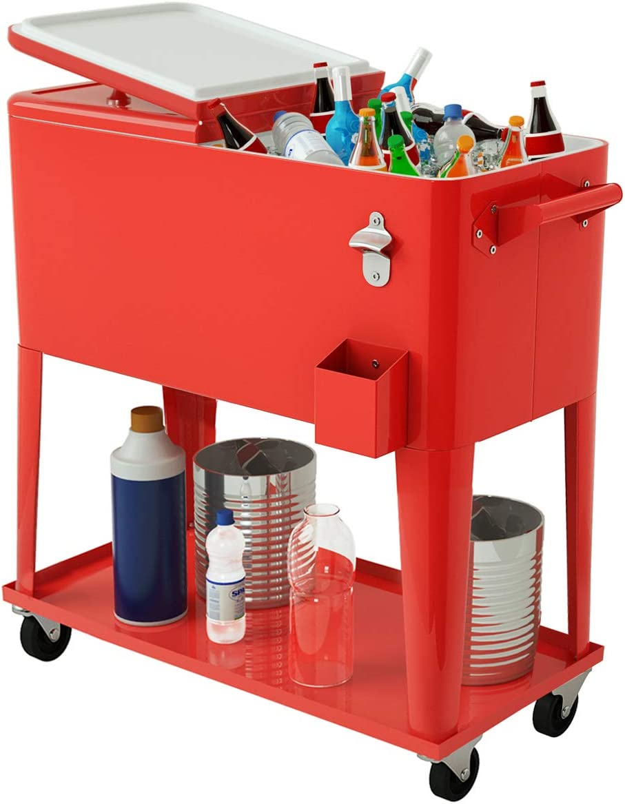 Giantex 80-Quart Cooler Beer Cart Outdoor Entertaining Rolling Party Steel Bar Bistro Beverage Cooler Cart