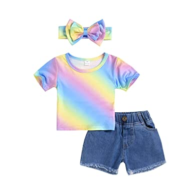 04fc98343 Amazon.com: Oucan Toddler Kids Baby Girls Rainbow Print Tops Short Jeans  Hair Band Outfits Set: Clothing