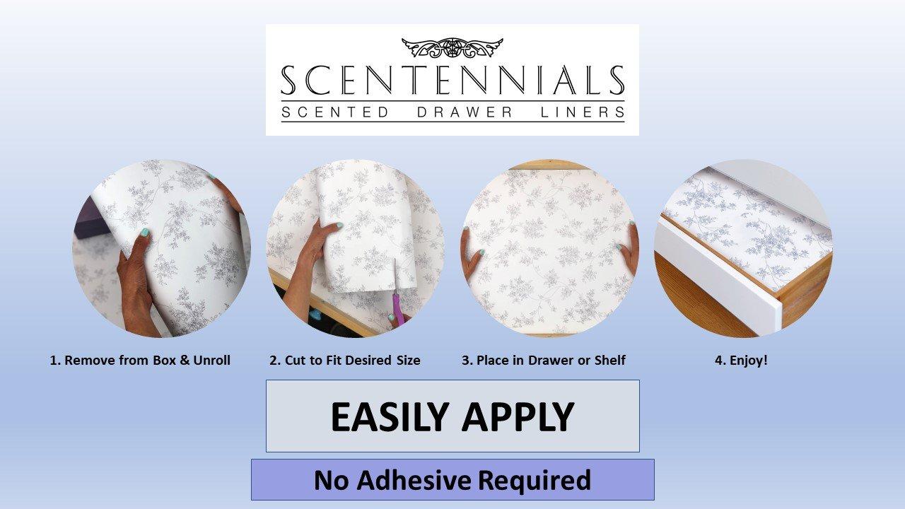 Scentennials FRENCH GARDEN WITH BATH SALTS (8 SHEETS) Scented Fragrant Shelf & Drawer Liners 13'' x 22'' - Great for Dresser, Kitchen, Bathroom, Vanity & Linen Closet