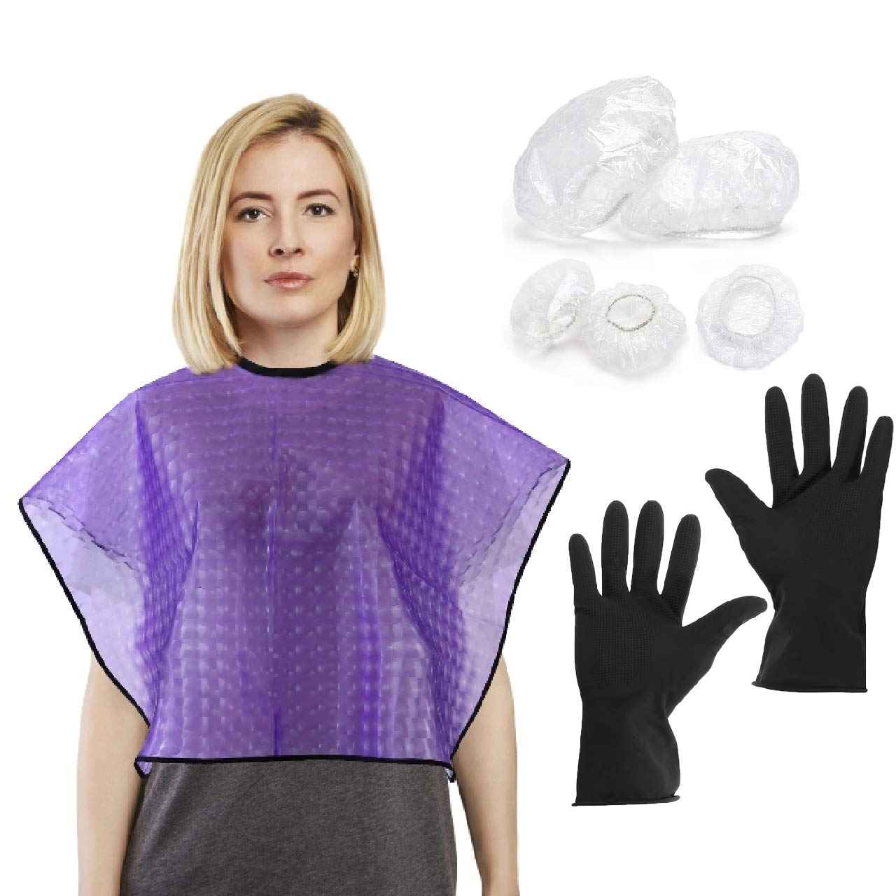 CCbeauty Waterproof Haircut Cape and Reusable Gloves Set with 100Pcs Disposable Ear Protector Shower Earmuffs Hair Styling Coloring Conditioning Hot Oil Cloth for Hair Perming Dyeing Tool Kit (Purple)
