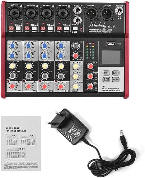 Muslady Muslady SL-6 Mezclador de Consola Mezcladora Portátil de 6 ...