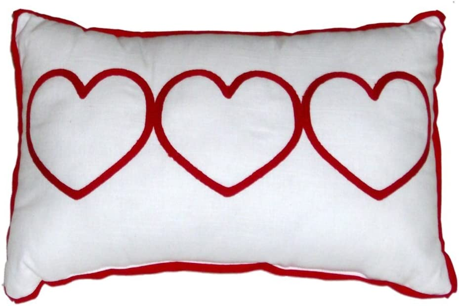 Amazon Com Embroidered Love Valentine Heart Throw Pillow Red White Accent Toss Cushion Home Kitchen