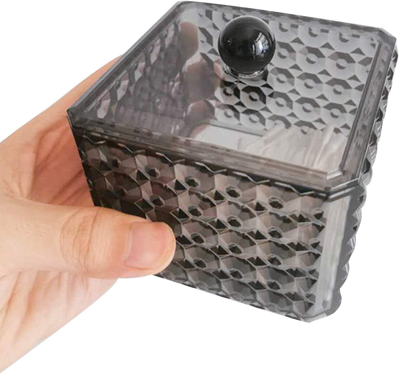 Organizer Kosmetik-Aufbewahrungsbox mit Deckel f/ür Watteb/älle Badezimmer-Beh/älter Kunststoff-Watteb/ällchen Make-up-Pads Beh/älter TSLBW 2 St/ück Wattepad-Halter aus Acryl Wattepads